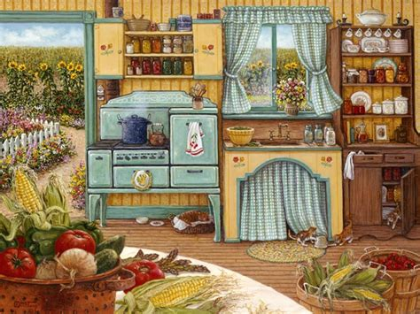 kitchen paintings canning day janet krusk art country life pinterest