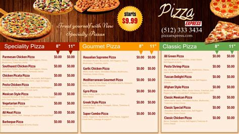 free pizza menu templates mangosigns digital signage templates