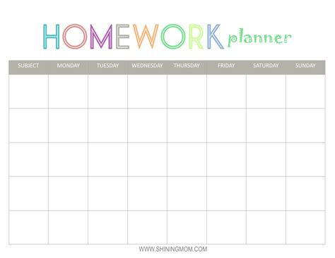 Galerry printable homework planner for college students