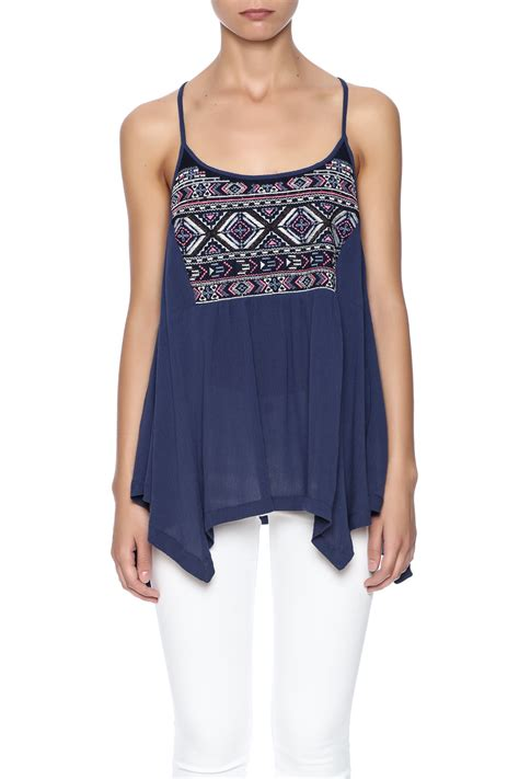 Side Ribbon Flowy Top miss me embroidered flowy tank from montana by family matters shoptiques