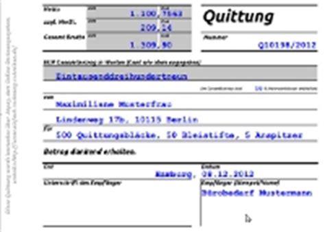 Vorlage Rechnung Quittung Rechnungsprogramm