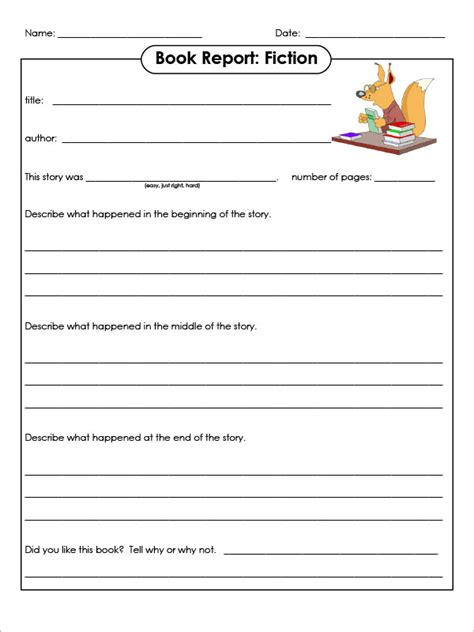 book report for sle book report template 8 free documents