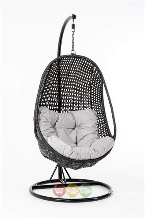 oahu outdoor hanging pod chair black rattanshop factory