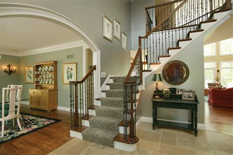 house foyer two staircase house plans