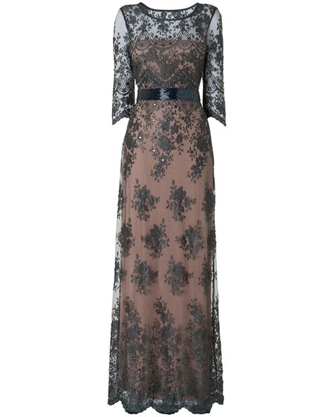 lace beaded evening gown with sleeves all the dresses