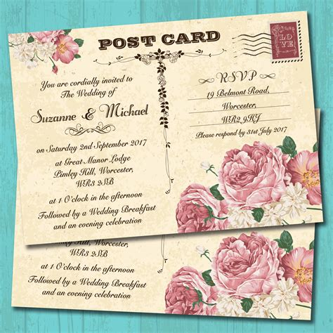 postcard invitations templates vintage postcard pink roses wedding invitation elisa by