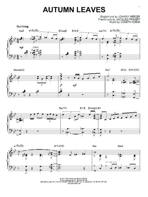 tutorial piano autumn leaves autumn leaves sheet music by bill evans piano 86876