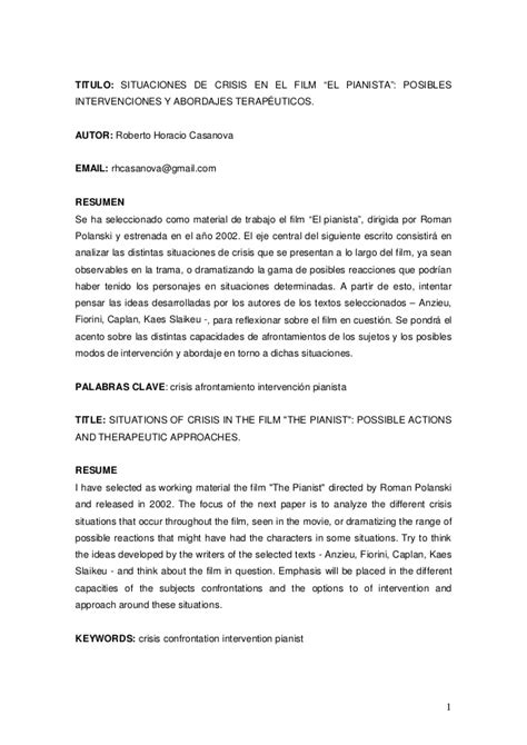 Situaciones de Crisis, Análisis del film El Pianista.