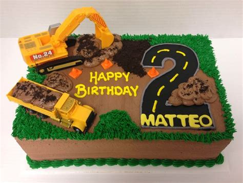 construction 2nd birthday cake construction truck cake half sheet ideas about