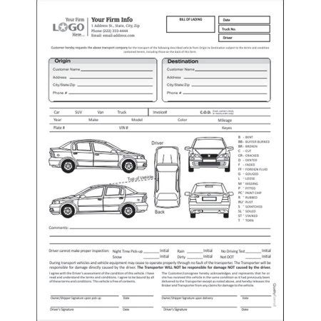 Auto Transport Bill Of Lading With 1 Car Style 1 Walmart Com Bill Of Lading Template For Auto Transport
