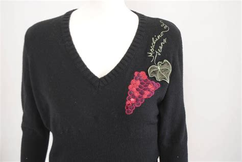 Id 008 Moschino Black Sweater moschino black grapes wool sweater for sale at 1stdibs