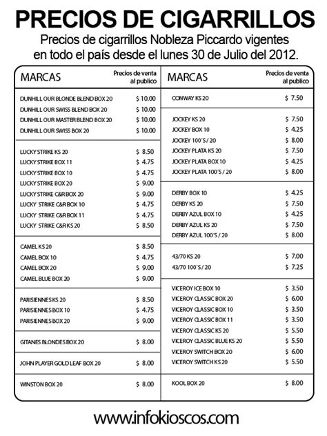 aumento cigarrillos 2016 lista de precios lista de precios cigarrillos 2016 lista de precios