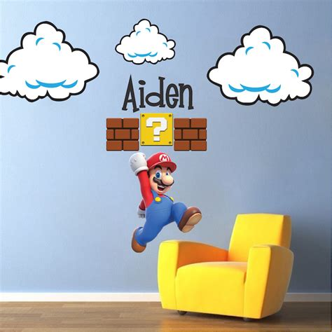 mario bros stickers wall mario bros clouds wall decal bedroom stickers