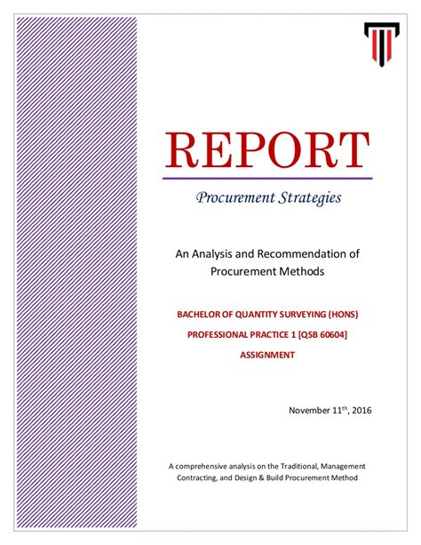 End Of Assignment Report Template