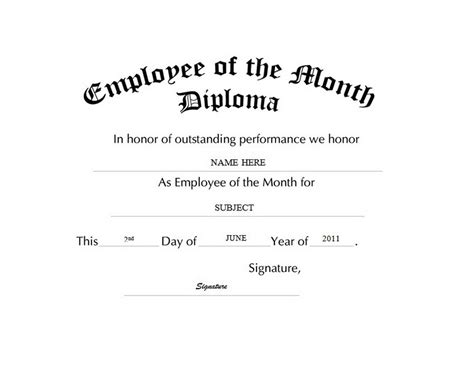 employee of the month template free awards diplomas free templates clip wording