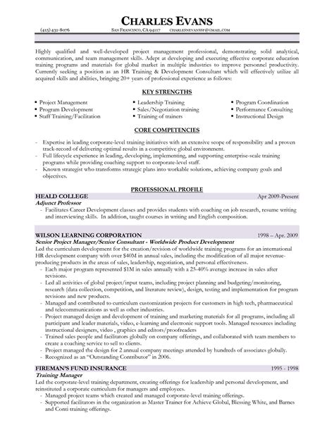 Resume Format Of Hr Trainer Management Program Resume Sales Management Lewesmr