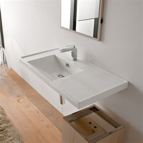 contemporary rectangular self or wall mounted sink with counter space contemporary