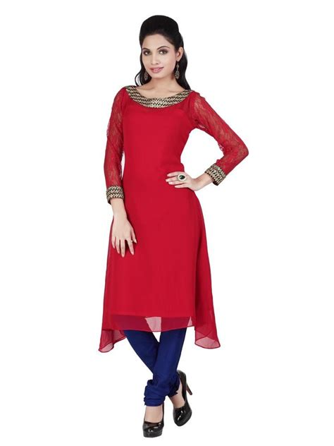 lace pattern for kurti buy kay solid georgette lace net kurti red h1062 online