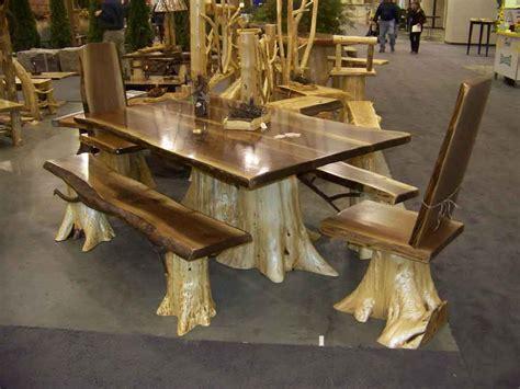 handmade dining table rustic  furniture on pinterest cabin furniture log furniture and log table