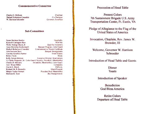 dinner program jamestowne society 400th anniversary comemoration events