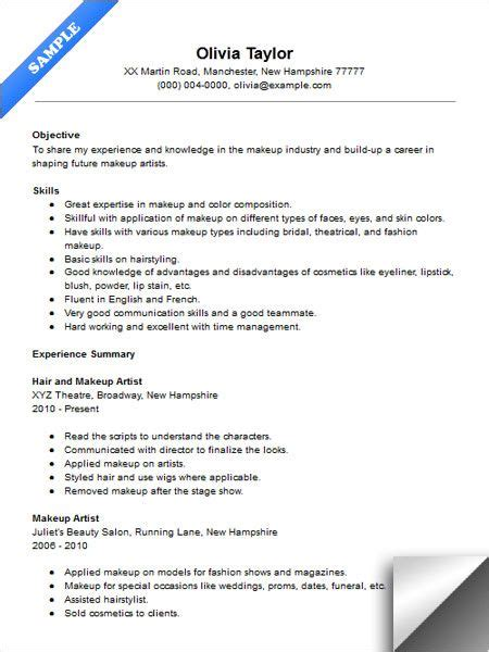 Sle Resume For Dancers by Entry Level Makeup Artist Resume Sle Makeup Vidalondon