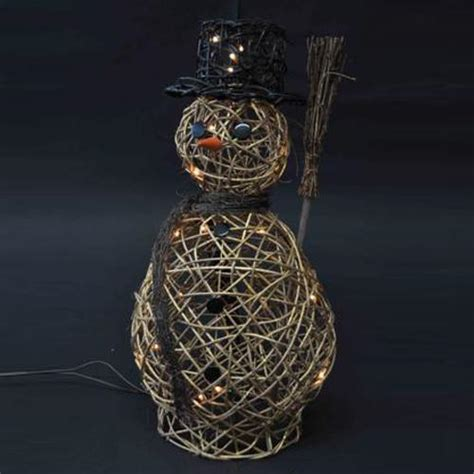 50cm gold wicker snowman 20 warm white led s woodcote