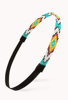Bando Forever21 Flower Pattern Hair Band headband navajo beaded turquoise blue american