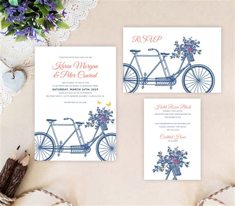 bicycle for two wedding invitations bicycle wedding invitation sets lemonwedding