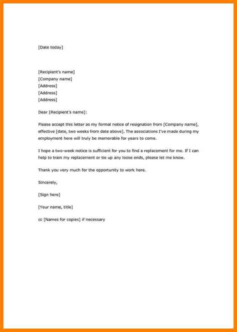 Resignation Letter Format With Cc 9 chef resignation letter template weekly template