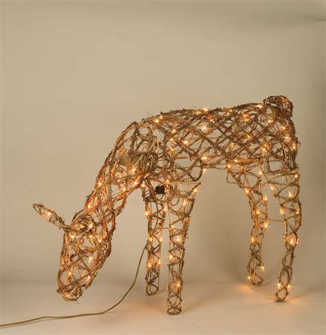 grapevine animated lighted deer 42 quot animated grapevine feeding deer yard sculpture decor lights