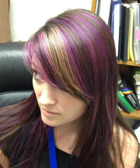 brunette hairstyles with purple highlights 35 glamorous dark brown hair with highlights creativefan