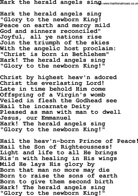 printable lyrics hark the herald angels sing hark the herald angels sing by the byrds lyrics with pdf