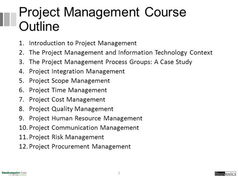 Project Management Course Outline For Mba by 2 The Project Management And Information Technology