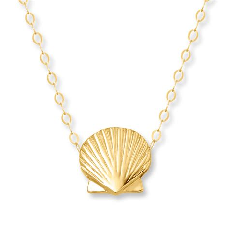 shell jewelry scallop shell necklace 14k yellow gold