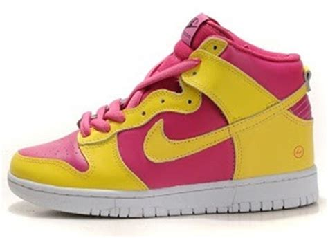 cute pattern nikes cute nike high tops girls shoes pink yellow flash pattern