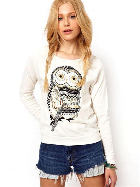 beading shirts casual owl printed shirt cotton blouse beading