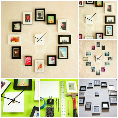 wall collage ideas family photoframe clock ideas