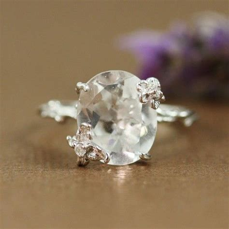 sterling silver oval white quartz ring gemstone ring