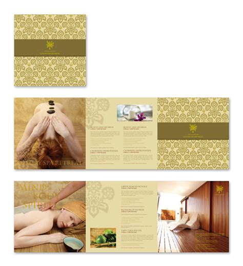 natural day spa massage brochure template spa ideas