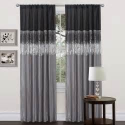 black grey faux silk 84 inch night sky curtain panel by