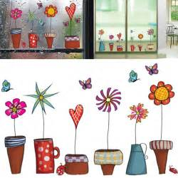 Sticker For Glass Wall cartoon flower butterfly wall stickers diy decal window glass wall