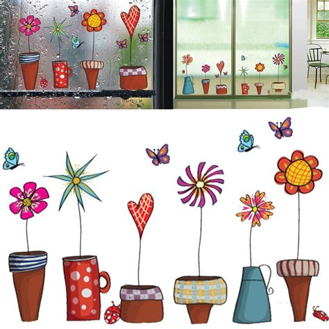Wall Stiker Sticker Untuk Anak aliexpress buy flower butterfly wall stickers diy decal window glass wall