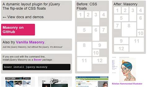 masonry layout without js must have responsive jquery plugins 推酷