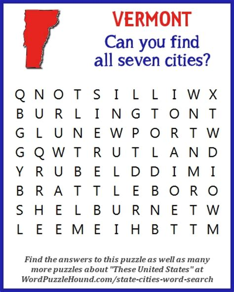 Vt Search State Of Vermont Cities Word Search Word Puzzle Hound
