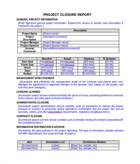 sle project report template project closure report template 8 documents in pdf word