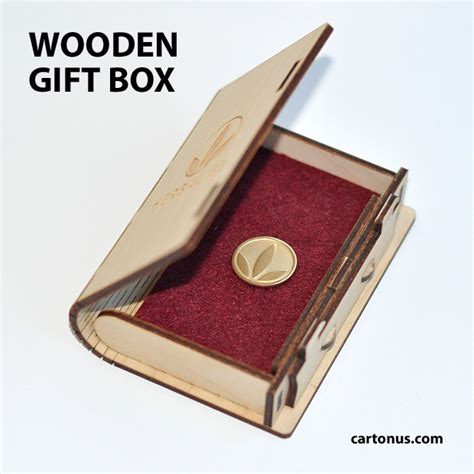 Wooden Gift Card Box - box with sliding bolt latch cartonus