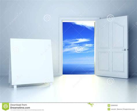 3d open door in empty room with empty frame stock photo