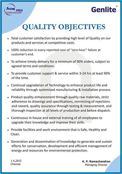 quality objectives template exle of a vision statement photo collection college
