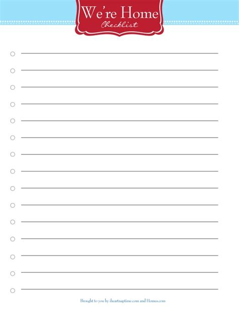printable new house checklist 500 error the page could not be loaded