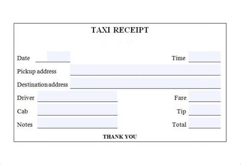 Luxor Cab Receipt Template by 7 Taxi Receipt Templates Word Excel Pdf Formats